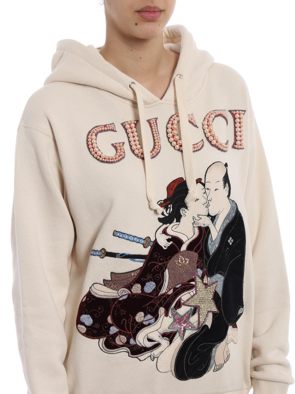 ab56c1e63 GUCCI buy online Geisha pattern embellished hoodie. GUCCI: Sweatshirts &  Sweaters ...
