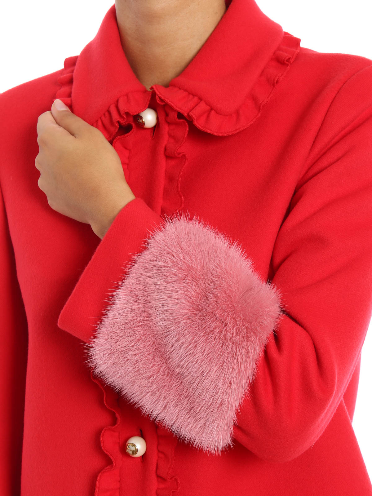 88d16efd2 Gucci - Mink fur detailed wool coat - knee length coats - 432405 ...