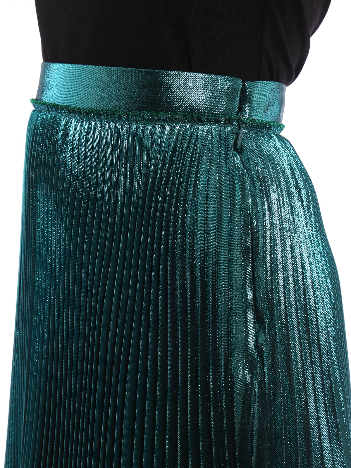 Gucci Silk And Lurex Pleated Skirt Knee Length Skirts
