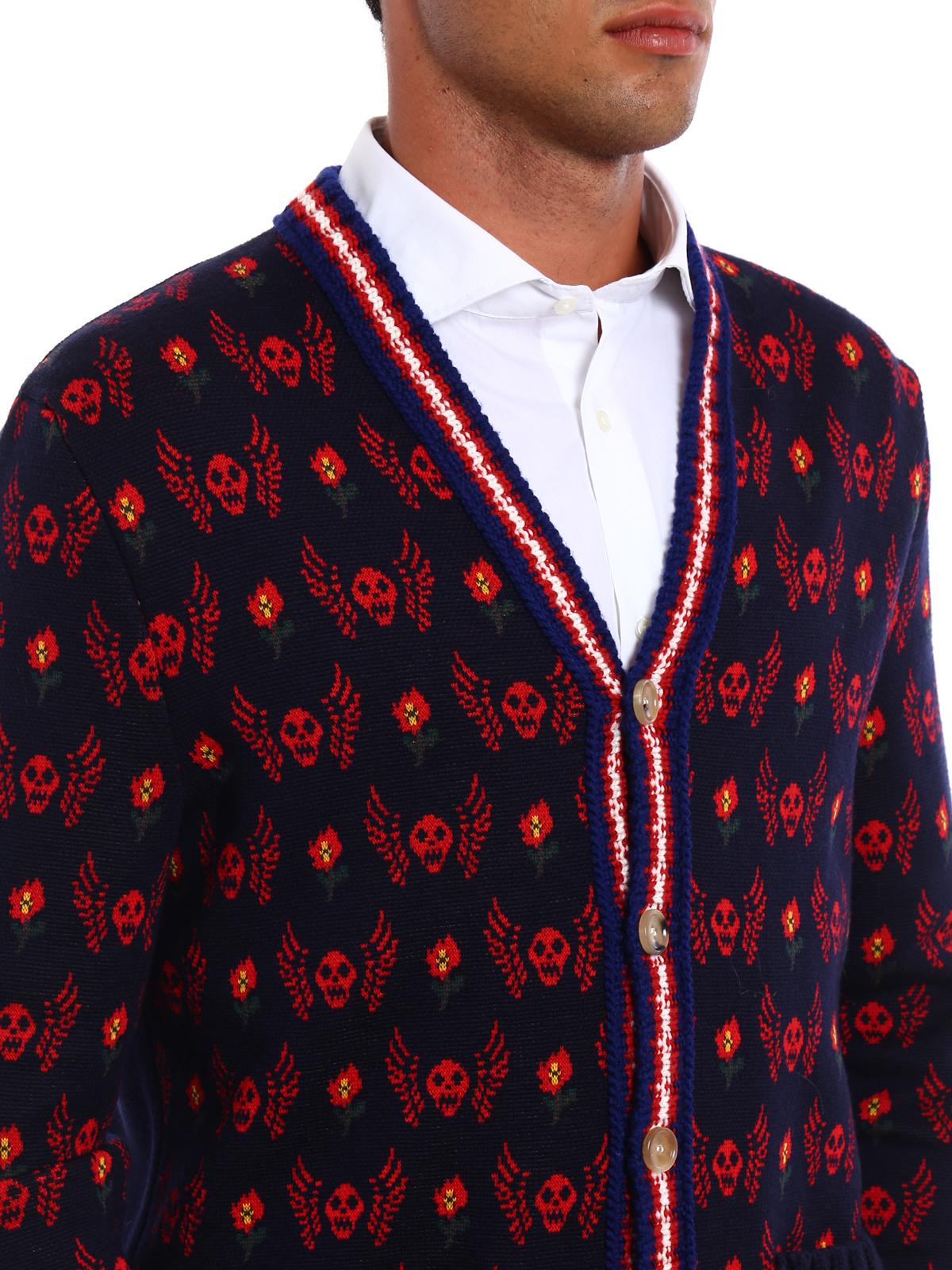 Skull jacquard wool cardigan by Gucci - cardigans   iKRIX
