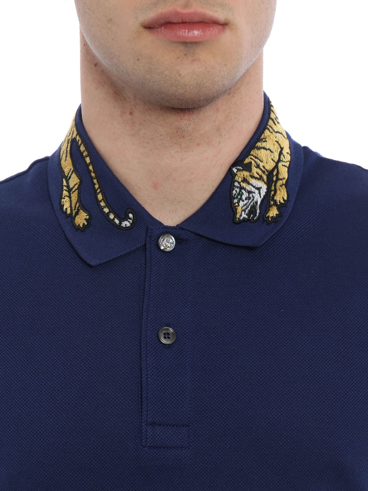 gucci polo. gucci buy online tiger embroidery cotton pique polo