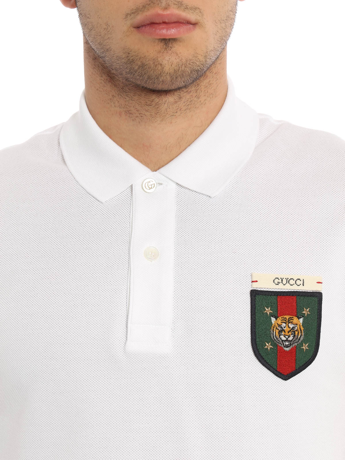 2adada9f5 Gucci - Web detail and tiger polo shirt - polo shirts - 408322 X5H61 ...
