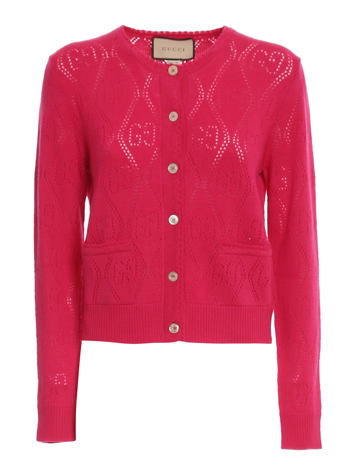 GUCCI DRILLED GG PATTERNED CARDIGAN