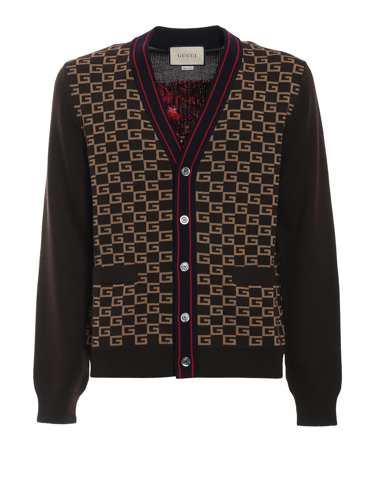 d00bc47e712 Gucci - Geometrical GG intarsia wool cardigan - cardigans ...