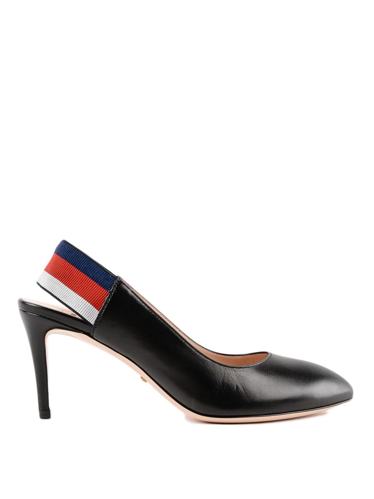 Gucci - Three-coloured Web black leather slingbacks - court shoes ...