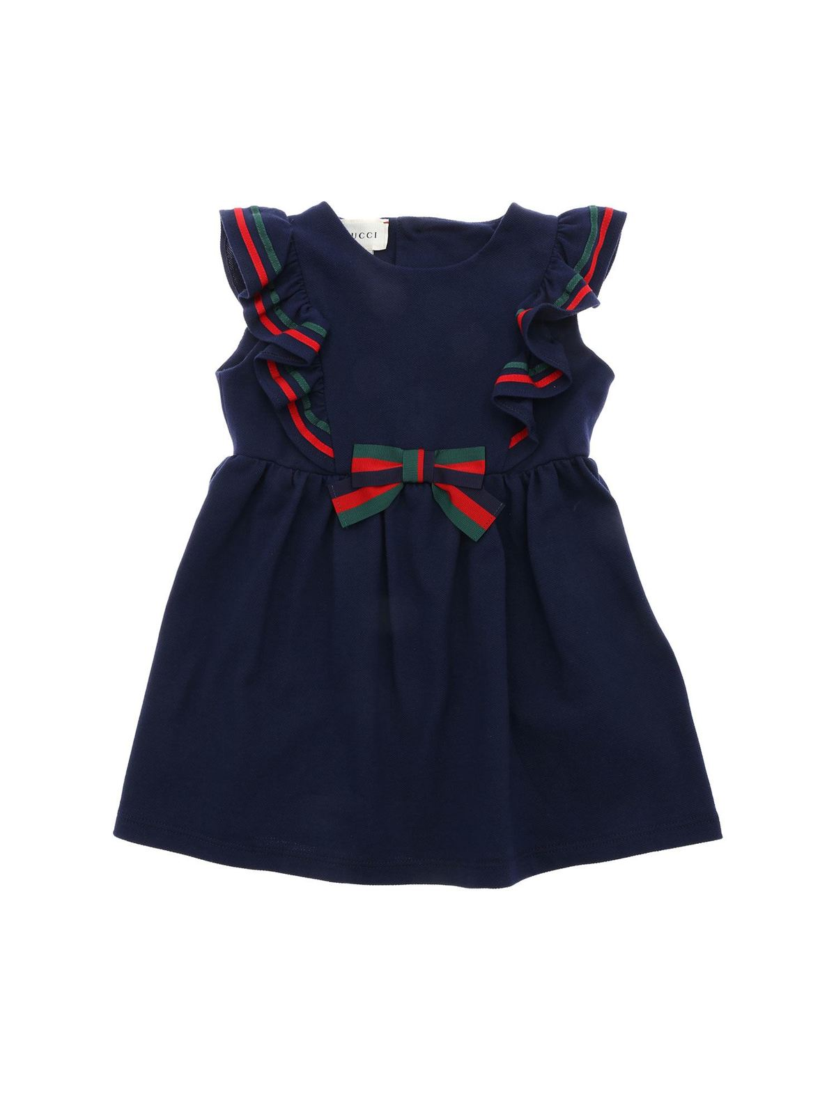 Gucci Kids' Childrens Cotton Piiquet Dress With Bow In Blue