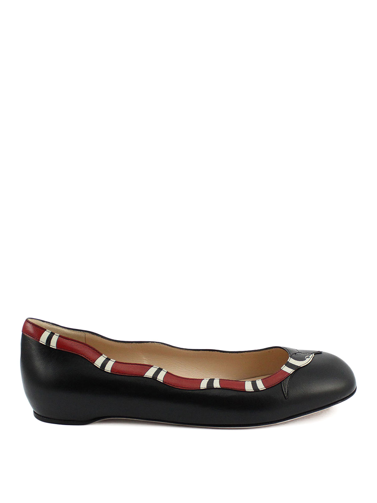 Kingsnake Leather Flat Shoes By Gucci - Flat Shoes | IKRIX