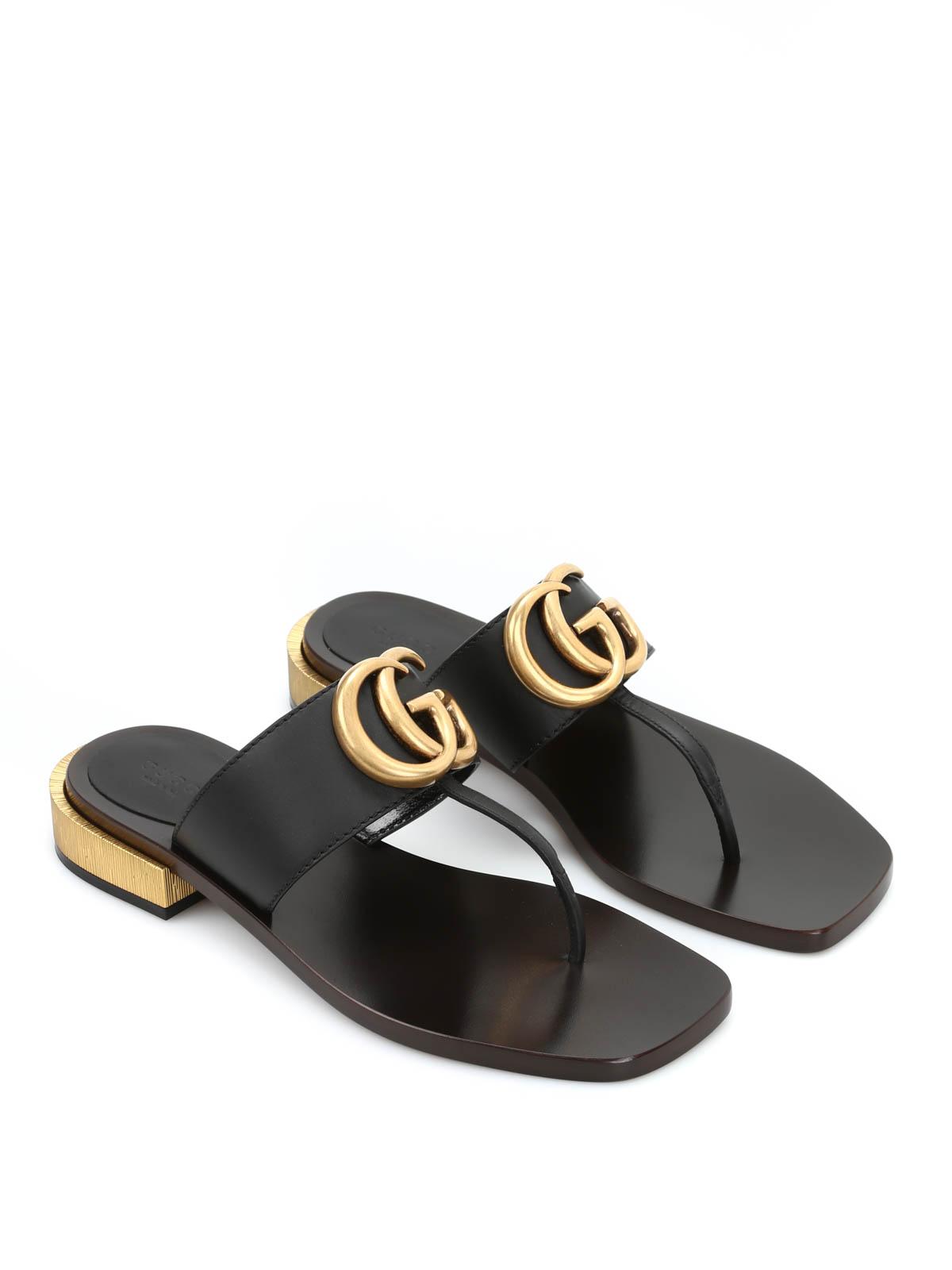 270995e1e2ec71 Gucci - Leather thong sandals - flip flops - 418692 A3N00 1000 ...