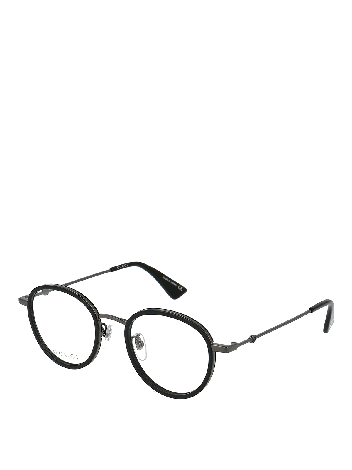 Gucci Black And Silver Metal Round Eyeglasses