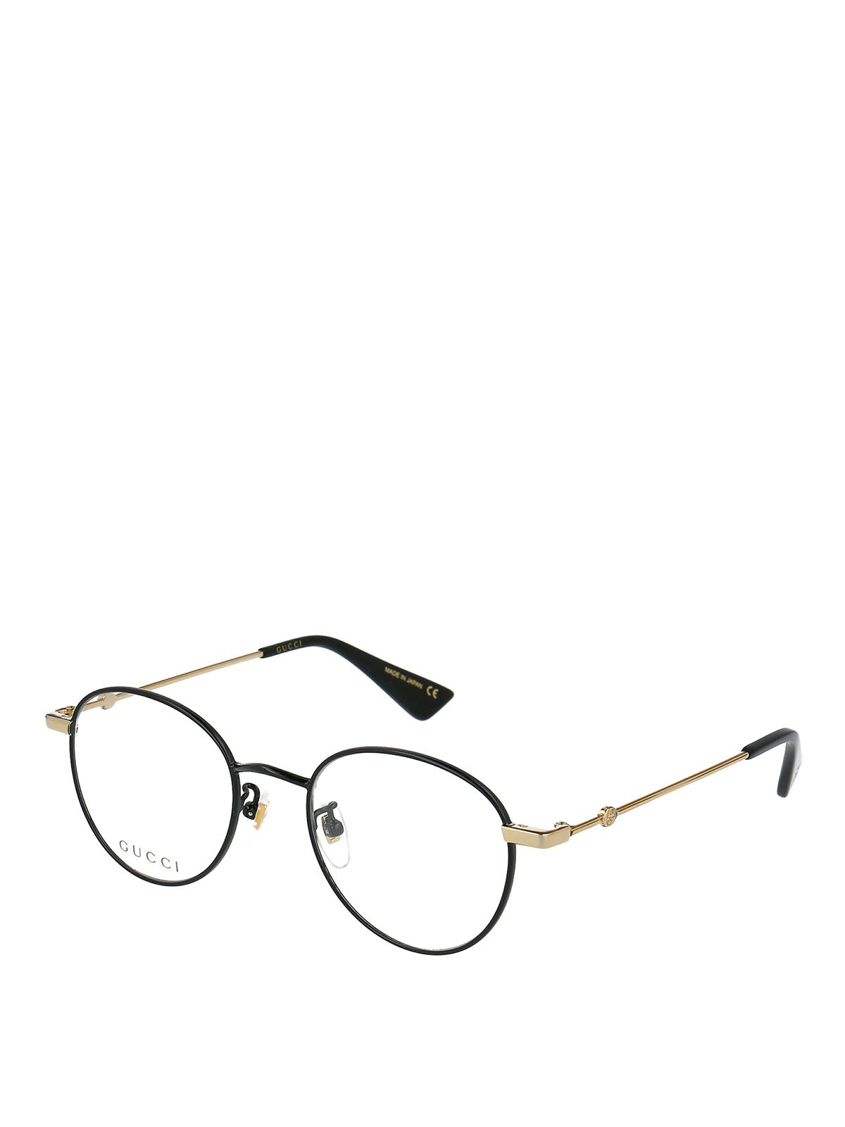 Gucci Black Metal Round Eyeglasses