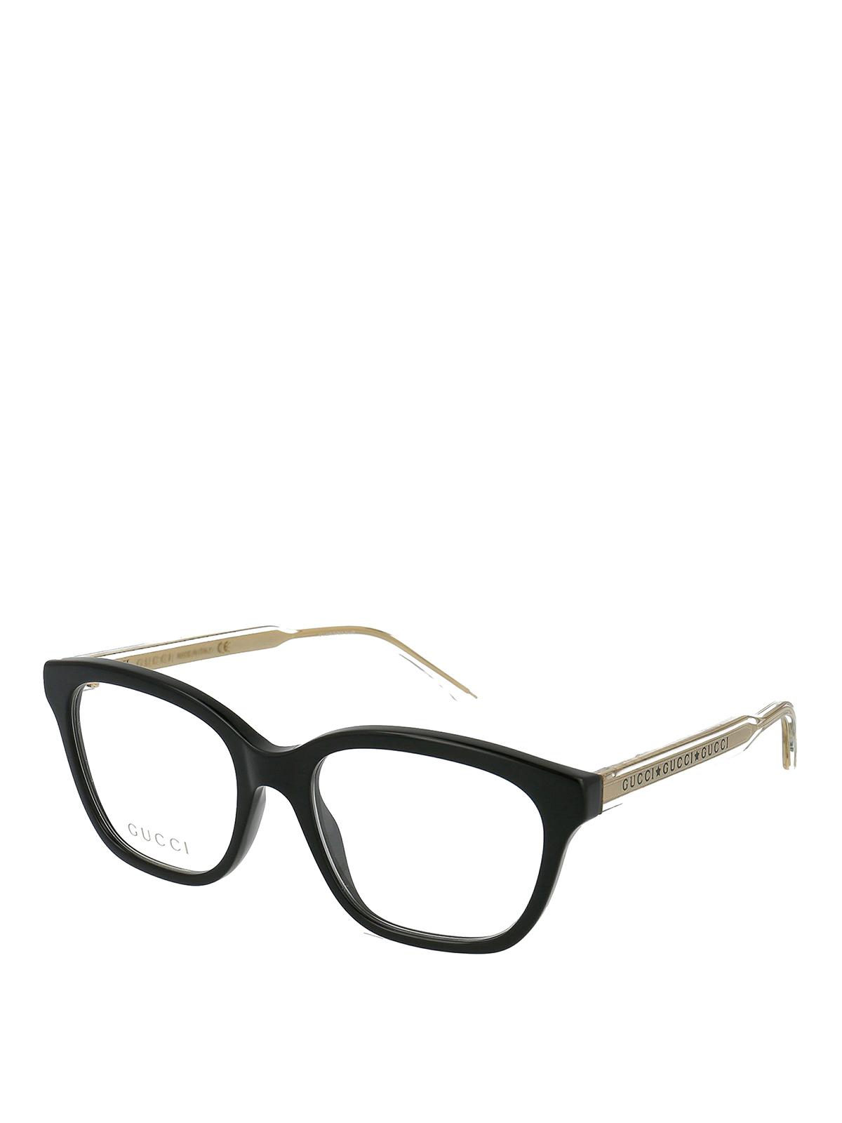 Gucci Sheer Temple Black Wayfarer Glasses
