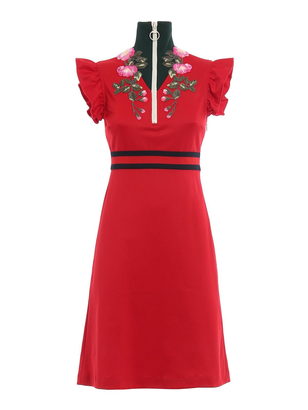 26be33741af Gucci - Floral embroidered jersey dress - knee length dresses ...