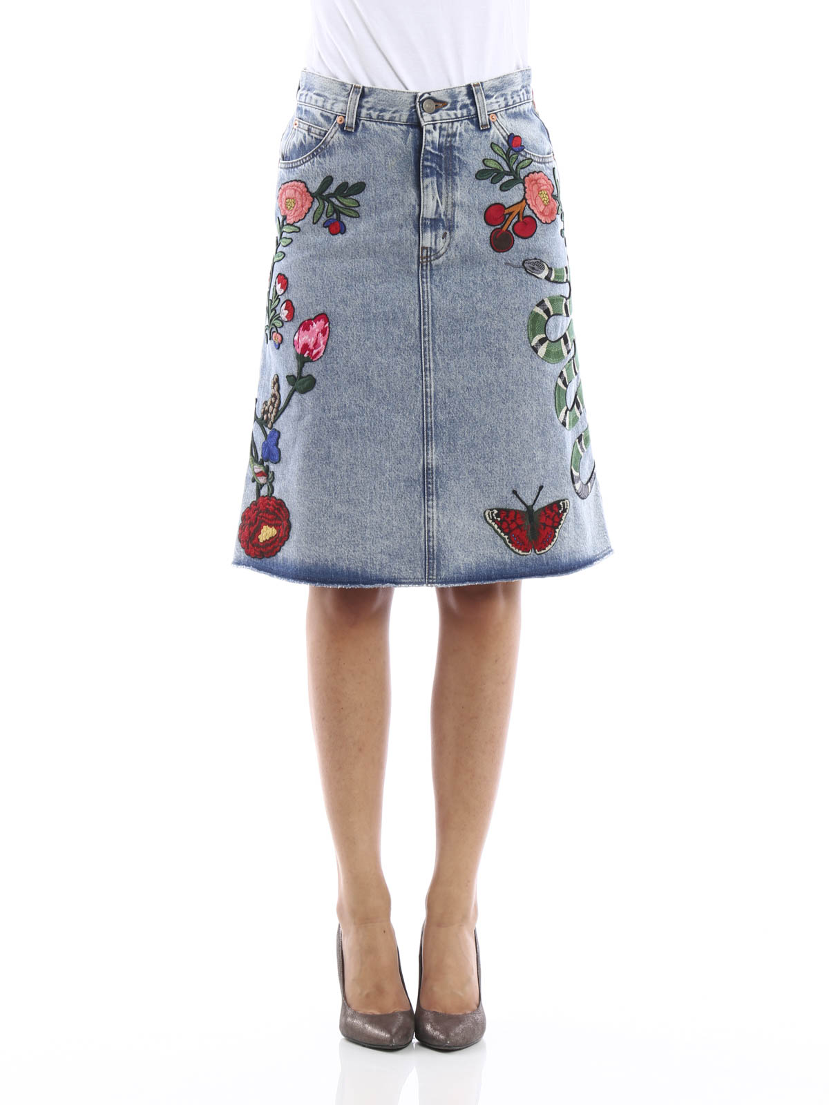 Embroidered washed denim skirt by Gucci - Knee length skirts ...