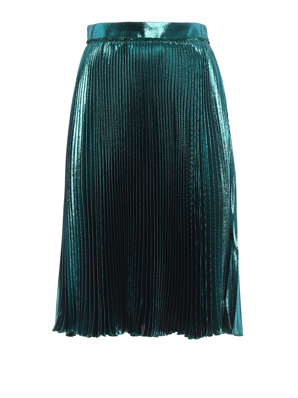 Silk And Lurex Pleated Skirt By Gucci Knee Length Skirts