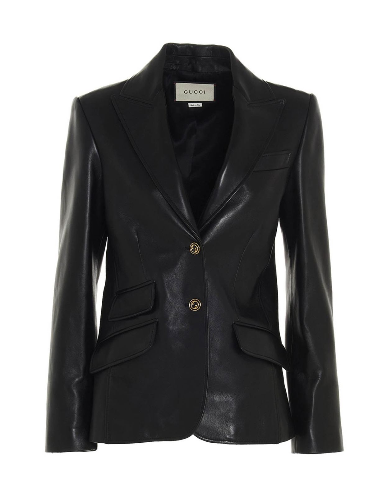 GUCCI PLONGE LEATHER BLAZER IN BLACK