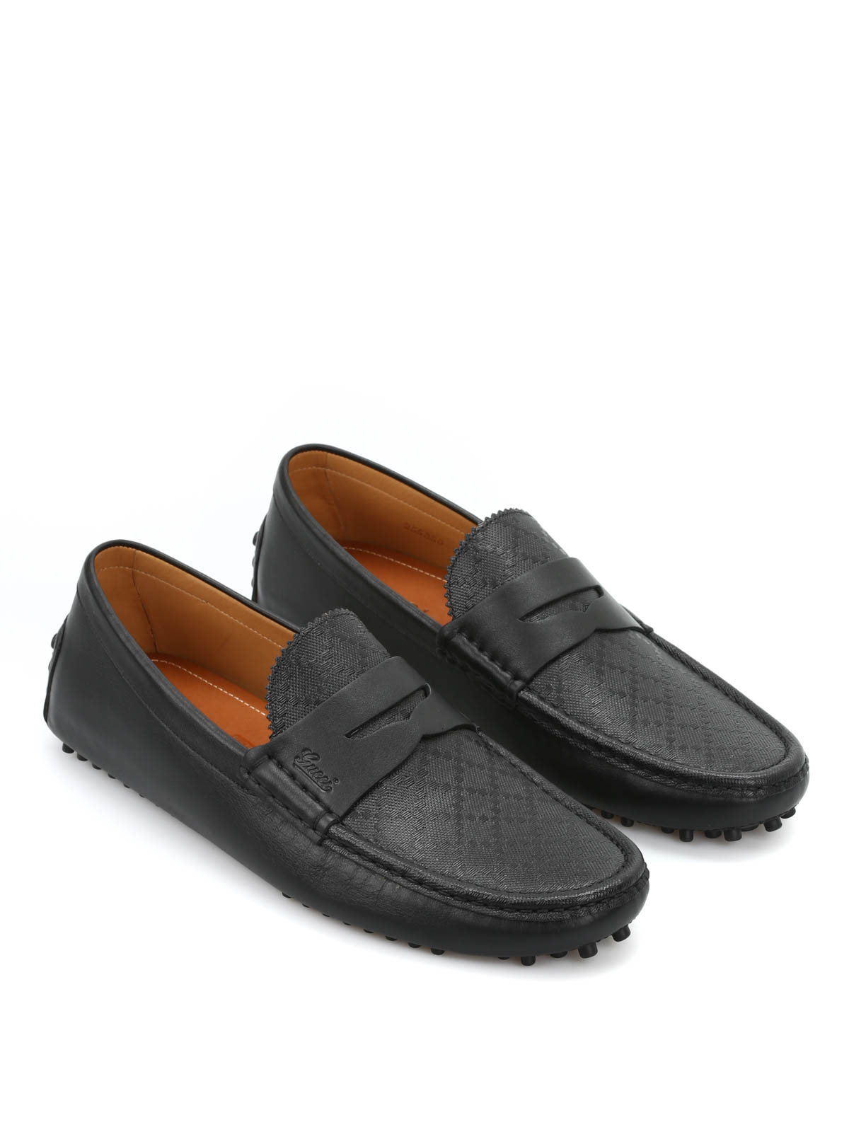 Gucci Diamante Leather Driver Loafers Loafers
