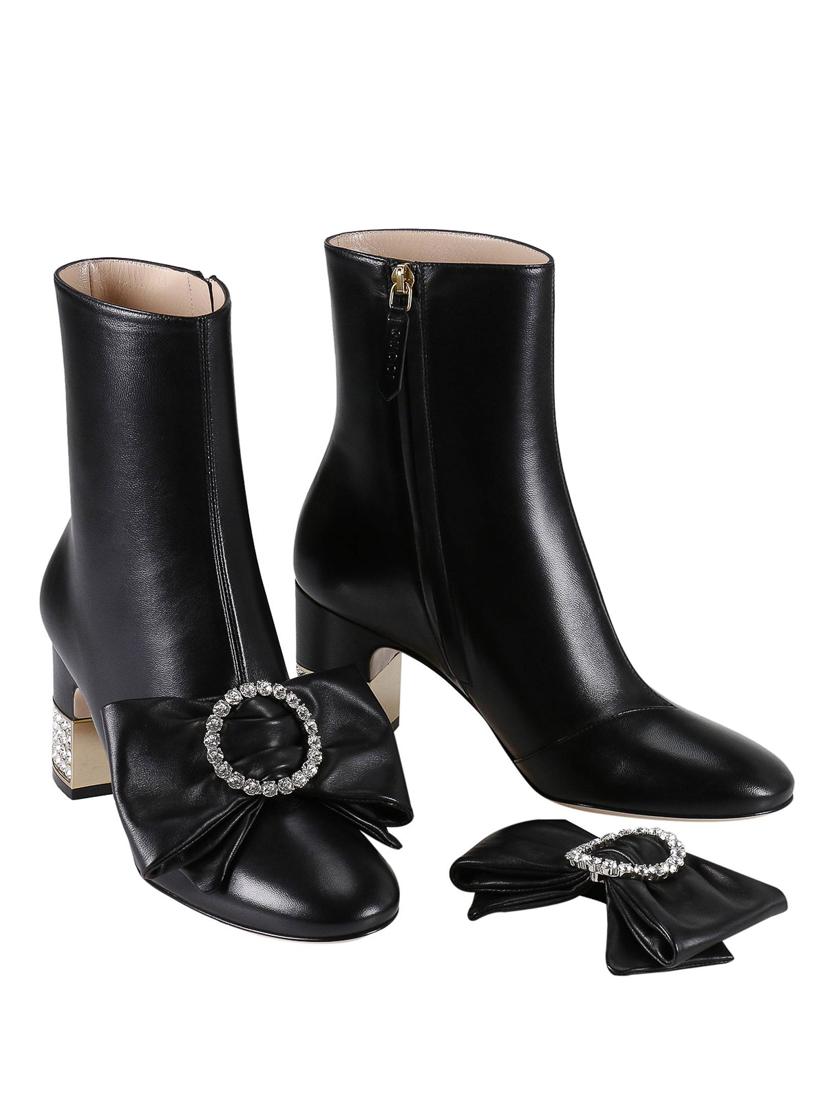 fa20a336aba0 GUCCI  ankle boots online - Removable bow leather ankle boots