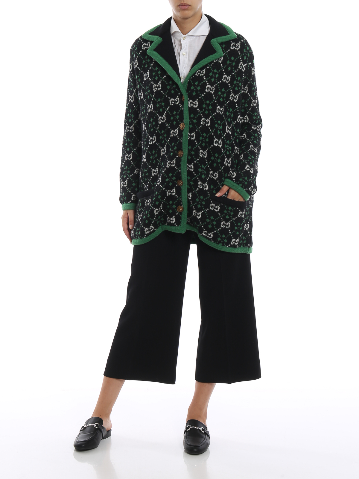 7ea79871cd4 GUCCI: cardigans online - GG pattern alpaca and wool over cardigan