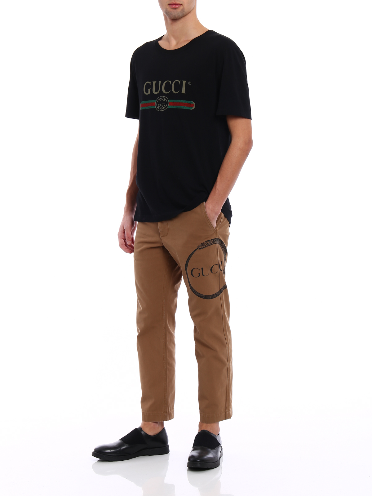 dc8bd3ddd3d GUCCI  casual trousers online - Ouroboros print worker chino pants