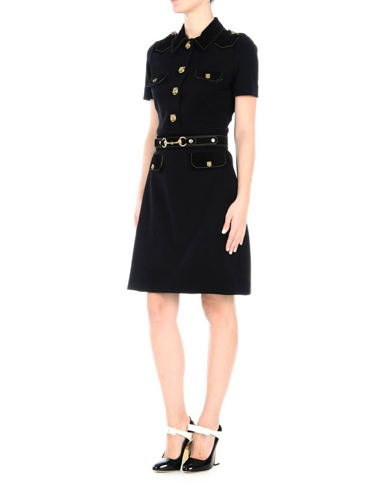 8e47b789d GUCCI: knee length dresses online - Tiger details chemisier dress