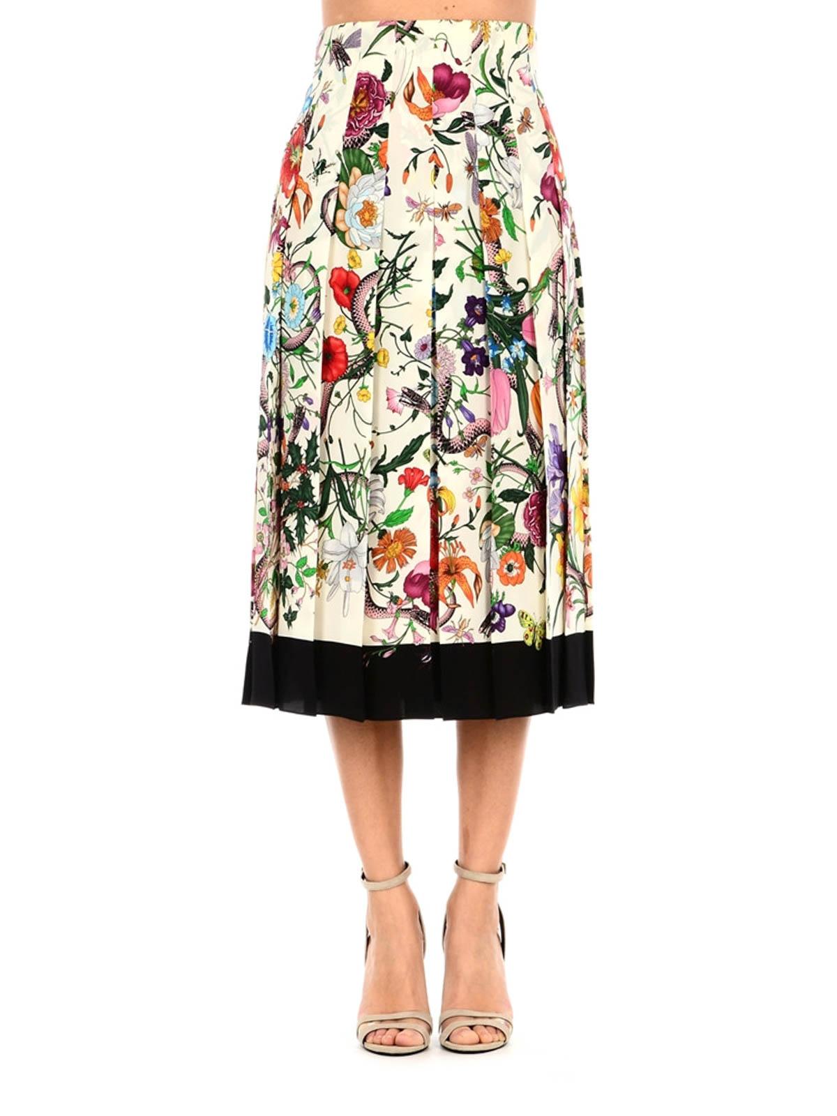089064fc6f GUCCI: Knee length skirts & Midi online - Flora Snake silk pleated skirt