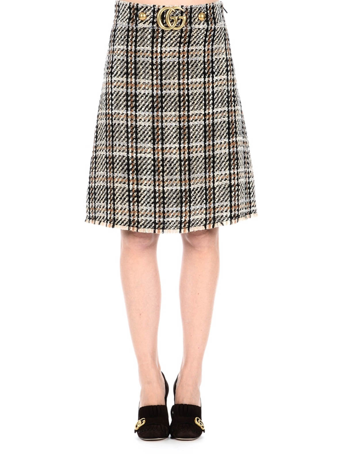 65e96629 Gucci - Wool tweed A-line GG skirt - Knee length skirts & Midi ...