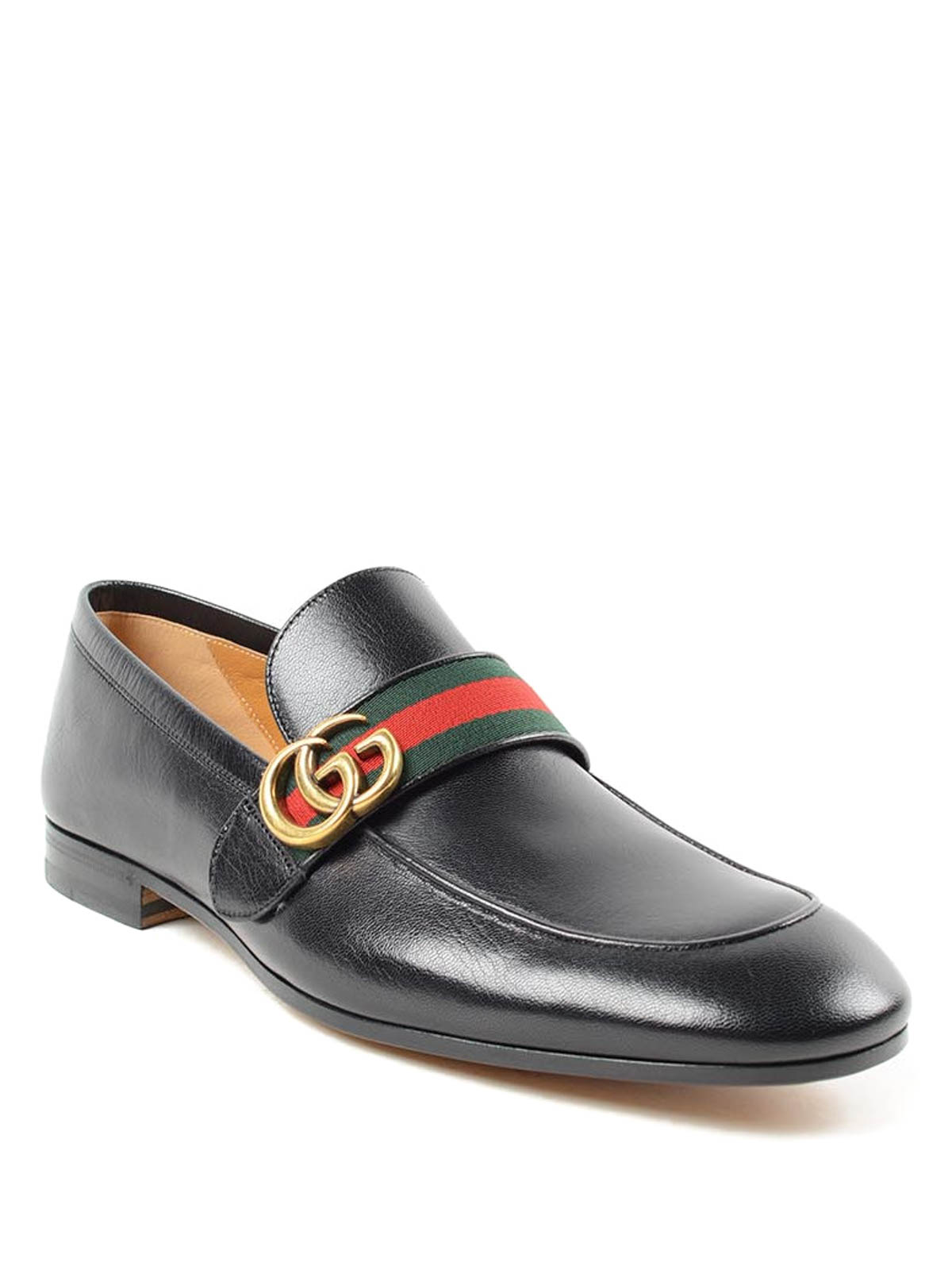 Gucci - GG and Web leather loafers
