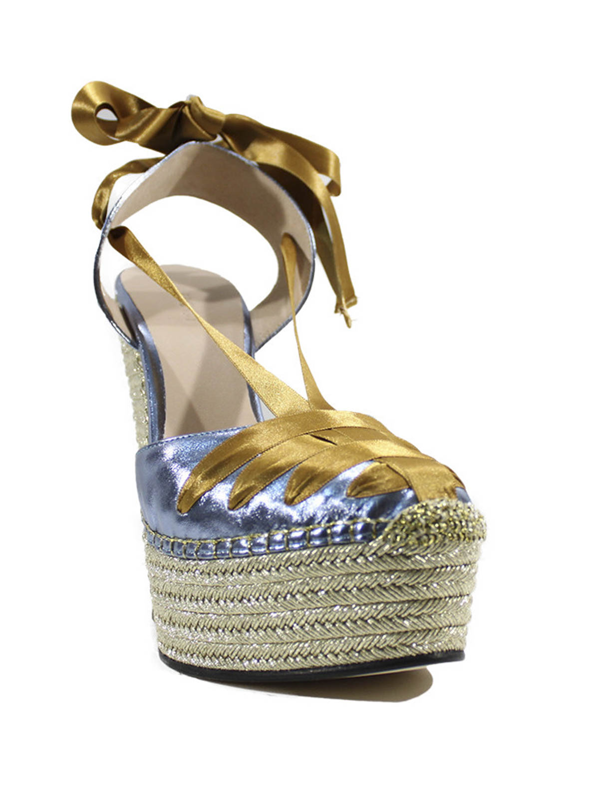 51f139a1bd49b Gucci - Alexis metallic leather wrap wedges - sandals - 408223 BJ800 ...