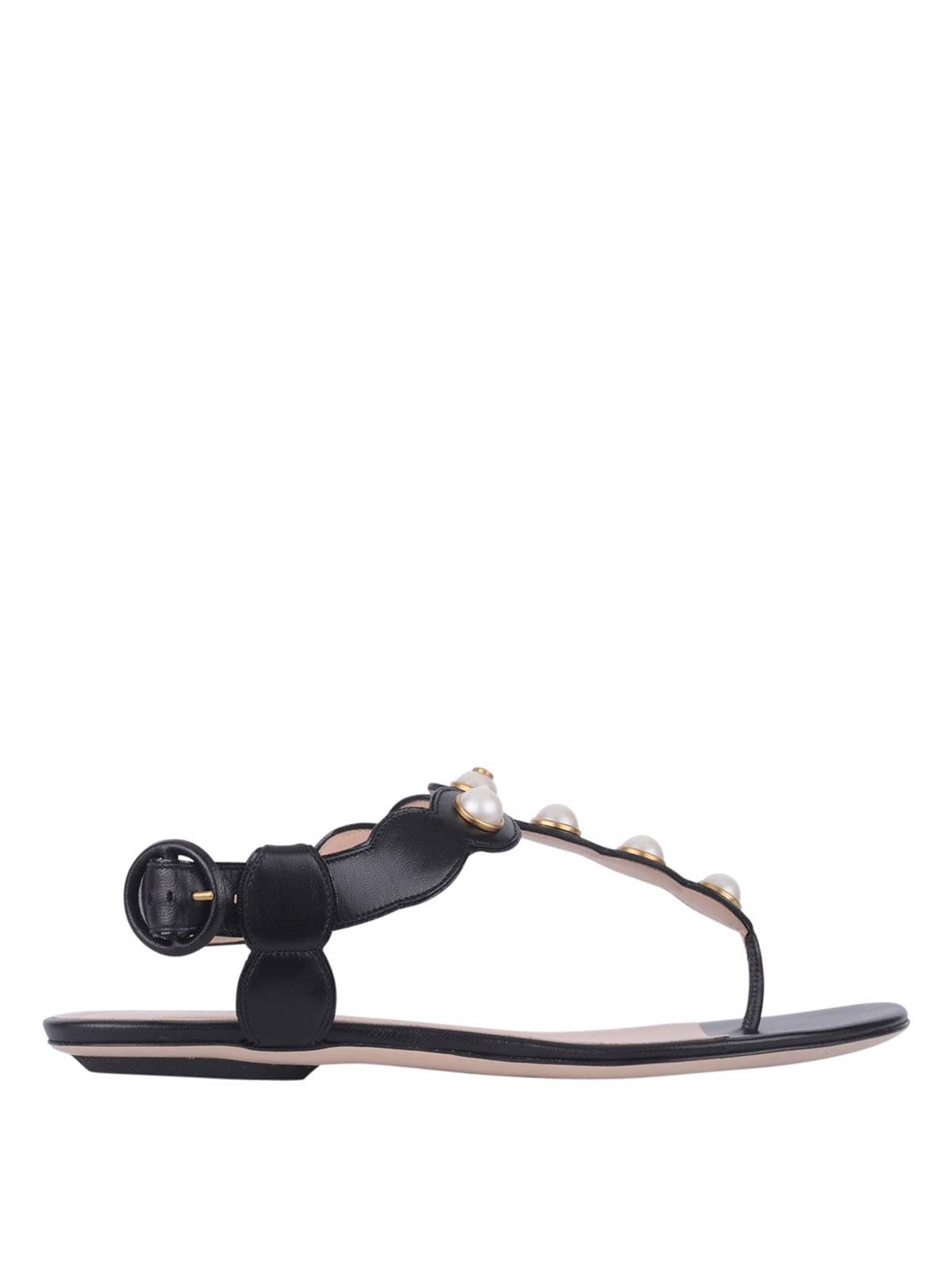 00967e88016f Gucci - Pearl embellished flat sandals - sandals - 424085 C9D00 1000