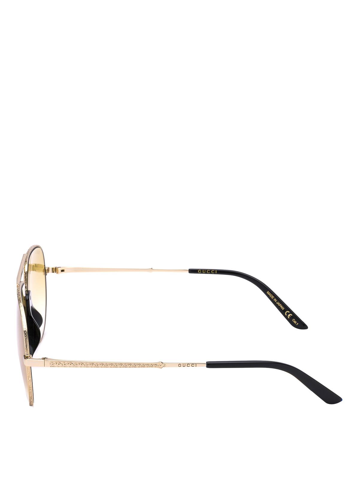 3f246fac68fc8 GUCCI  sunglasses online - Aviator sunglasses with black acetate details