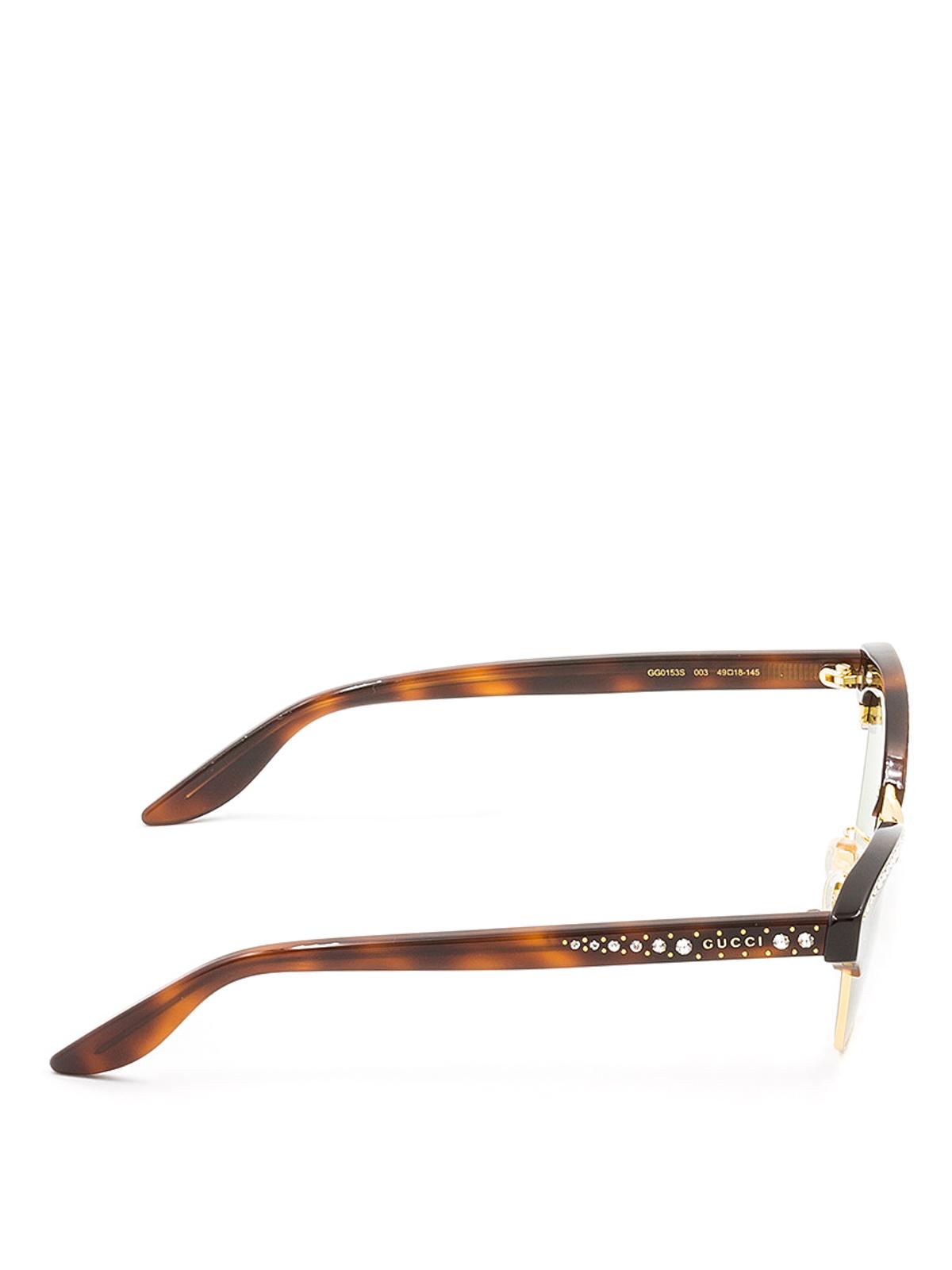 6f7af4091bb Gucci - Cat eye sunglasses with rhinestones - sunglasses - GG0153S3