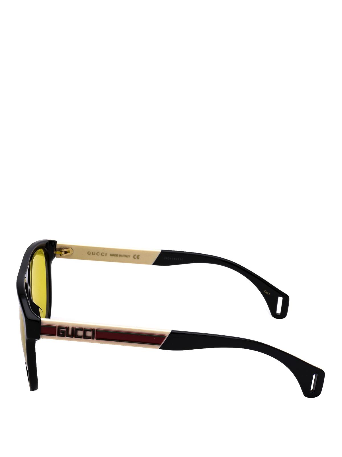 33f0ab51ef7 Gucci - Yellow lens black round sunglasses - sunglasses - GG0462S 001