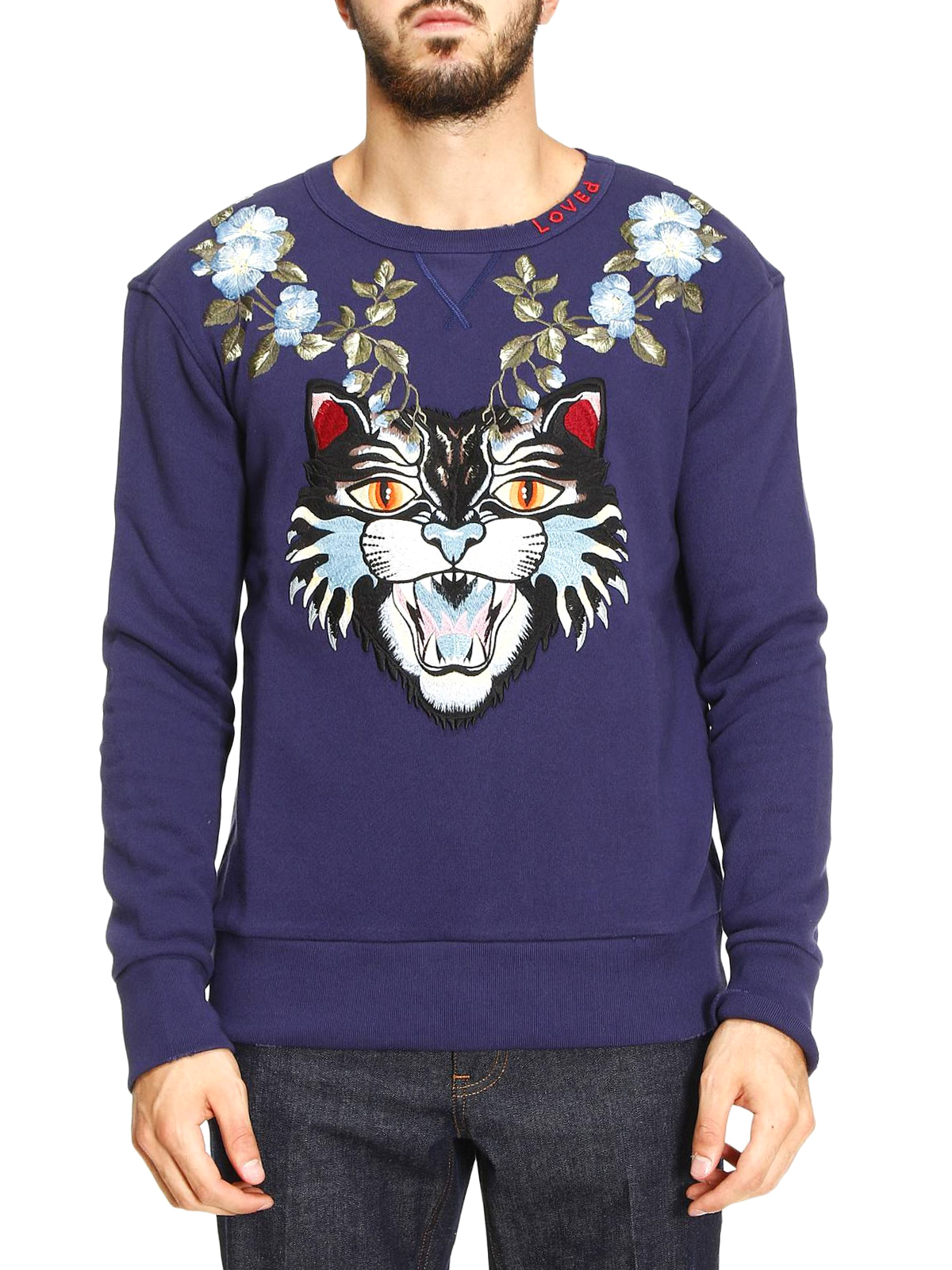 177771c6381 GUCCI  Sweatshirts   Sweaters online - Angry Cat and floral sweatshirt