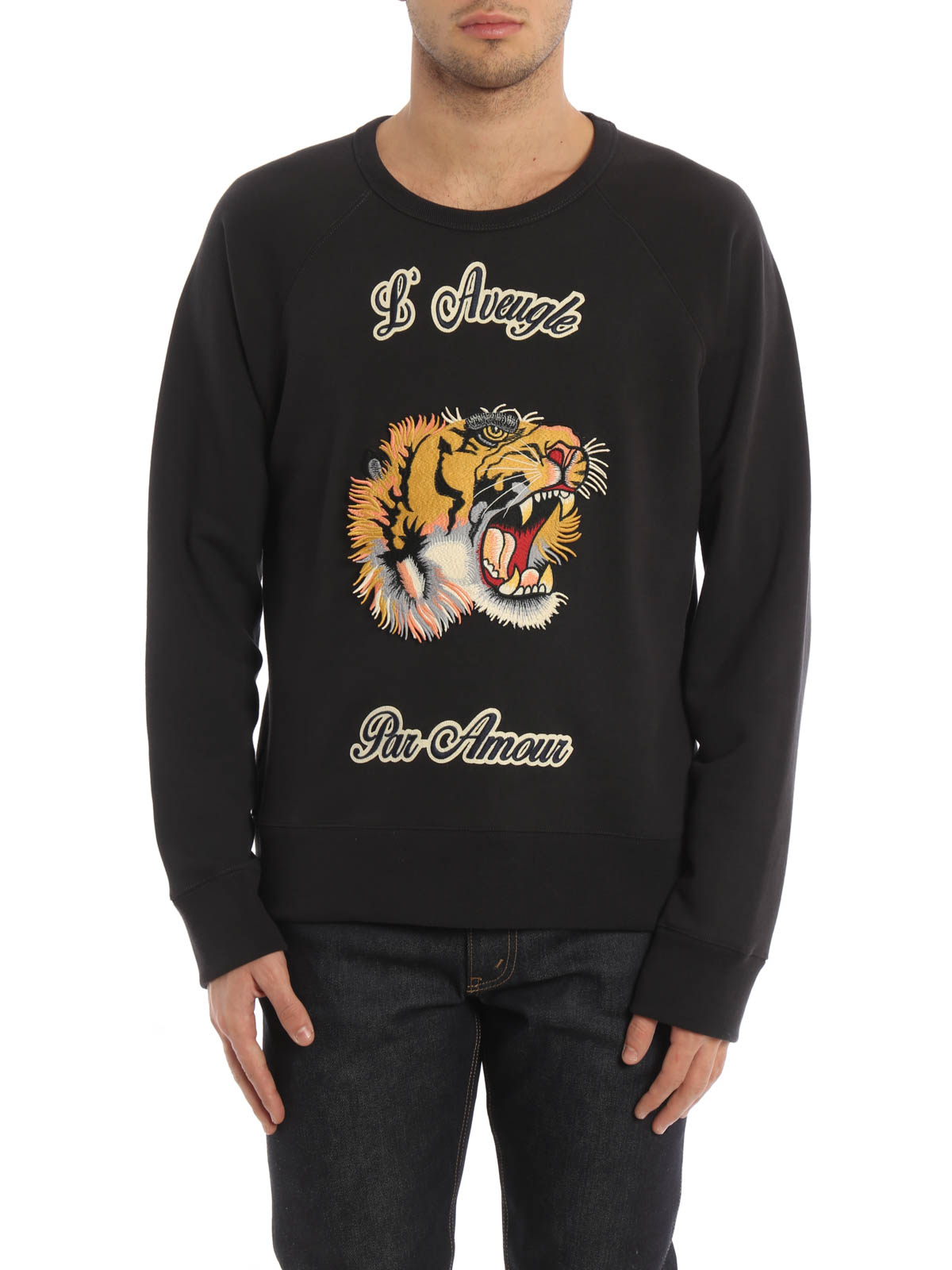 71245ac36fe GUCCI  Sweatshirts   Sweaters online - Embroidered tiger patch sweatshirt
