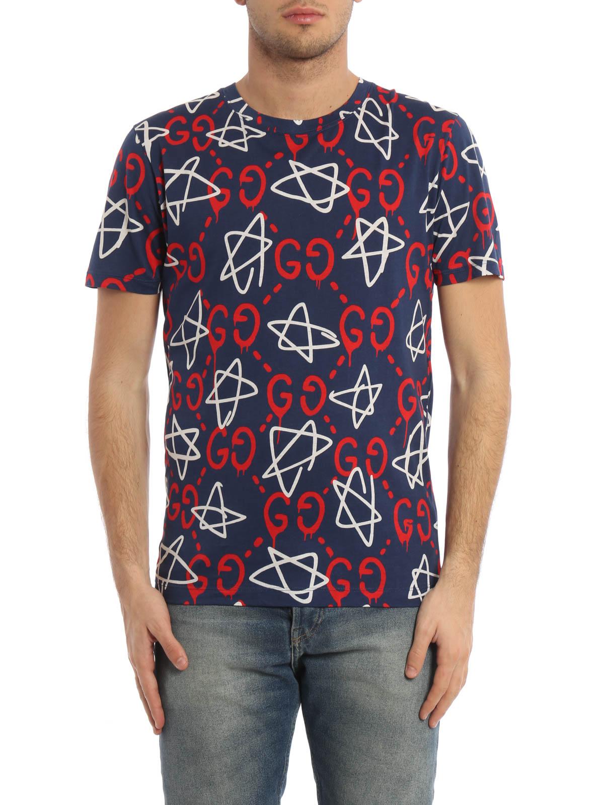 Gucci All Over Guccighost Print T Shirt T Shirts 457936 X3f26 4651