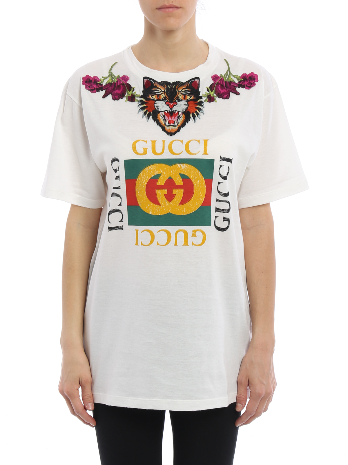 acf44c9d7 Gucci - Angry Cat embroidery T-shirt - t-shirts - 457094X5S719234