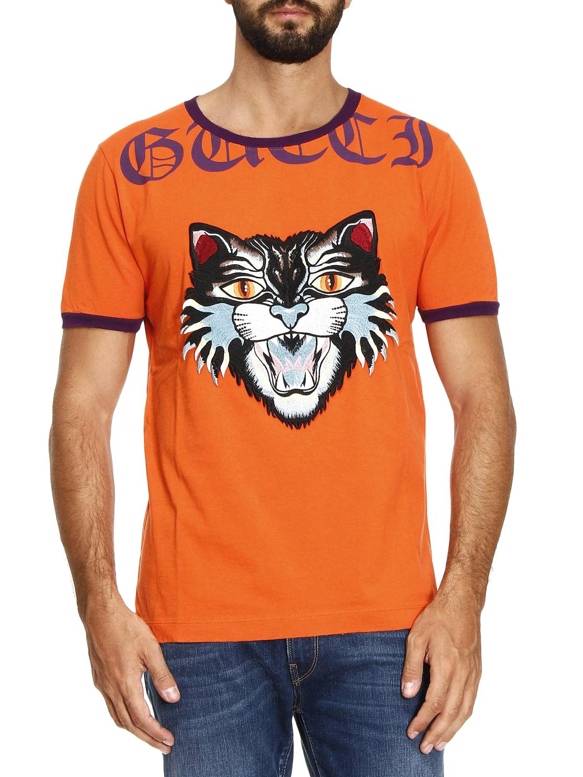 6bbb7b351 Gucci - Angry Cat patch orange T-shirt - t-shirts - 476035 X5V03 7548
