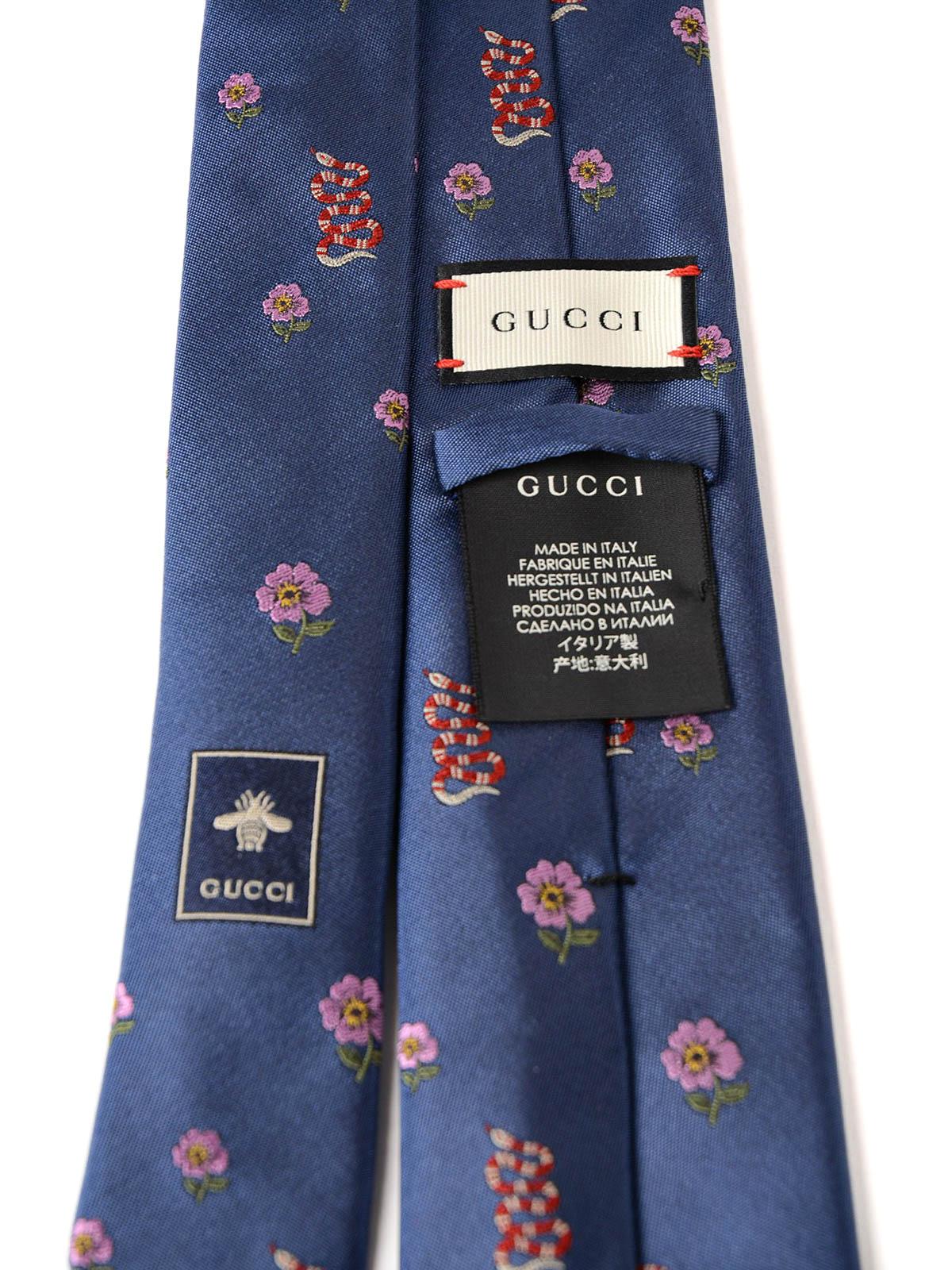 Gucci Ties Bow Ties Online Flower And Snake Pattern Silk Tie
