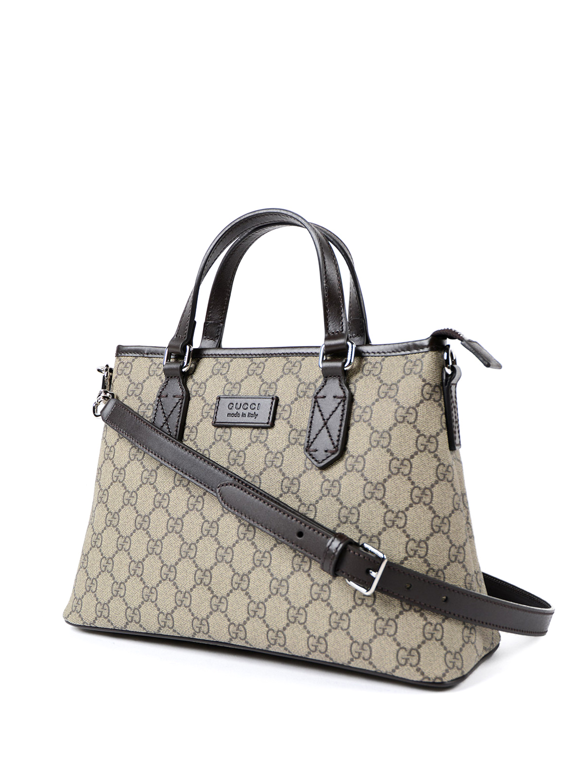 aa5139a4f20 GUCCI  totes bags online - Leather trim top zip GG canvas tote