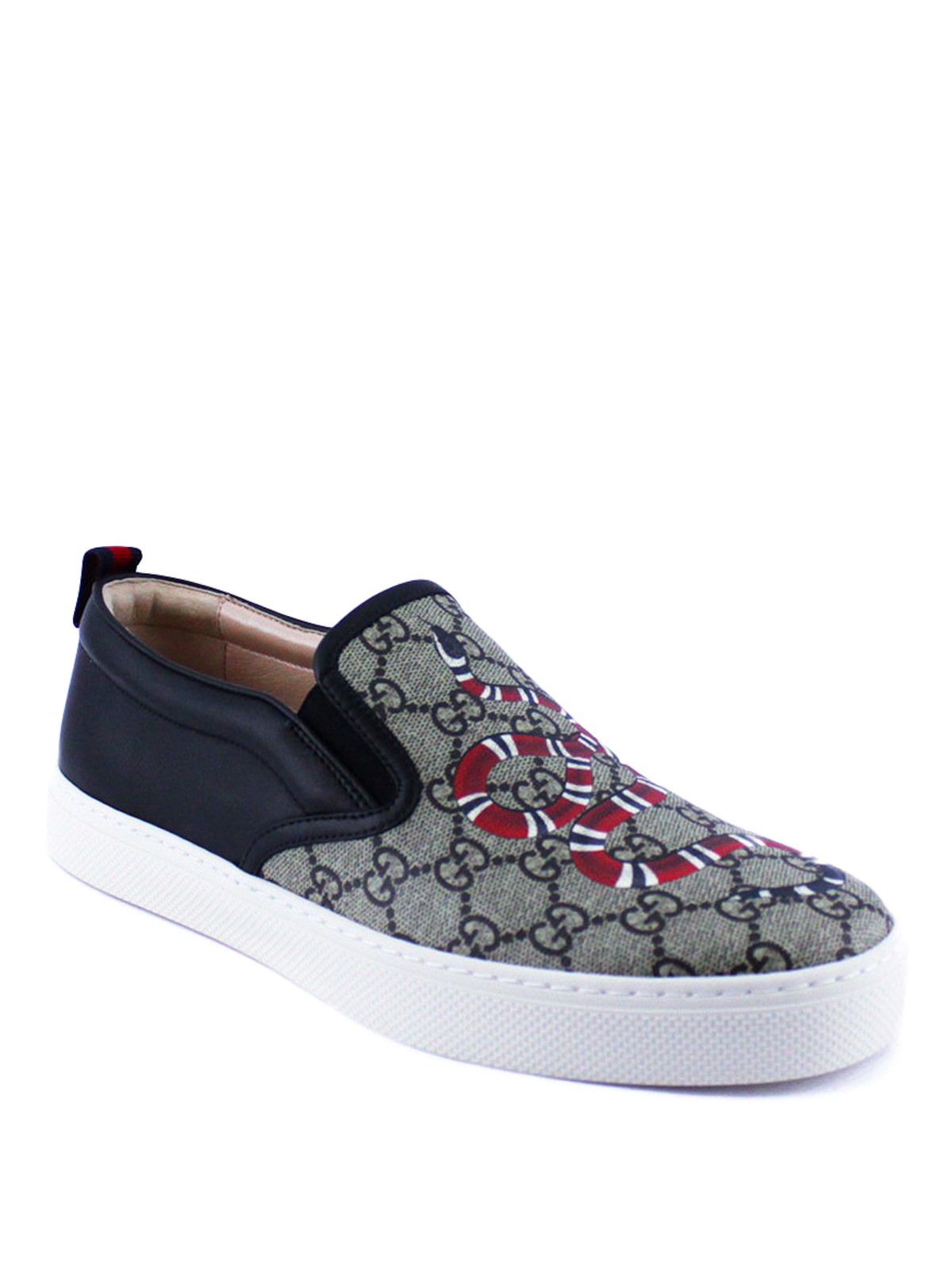 Gucci Trainers Online Snake Print Gg Supreme Slip Ons