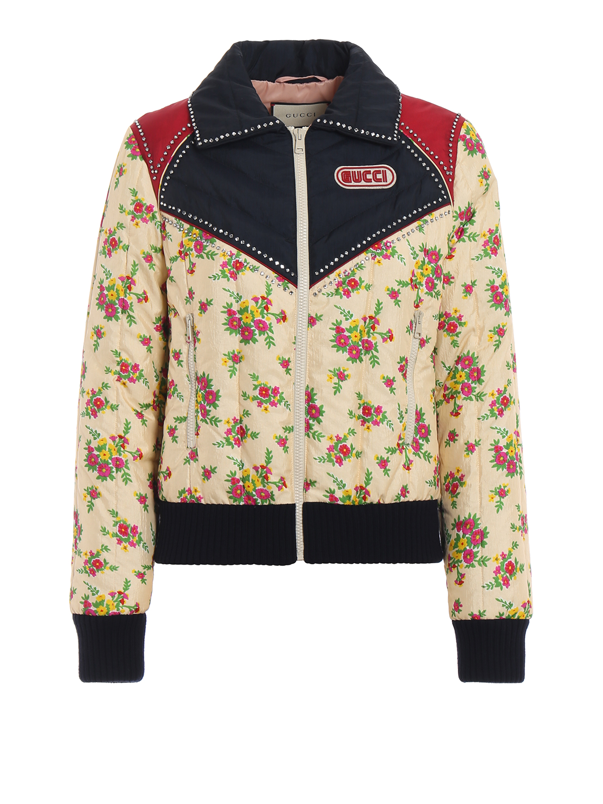 1685d422c35 GUCCI  padded jackets - Strass embellished colour block bomber jacket