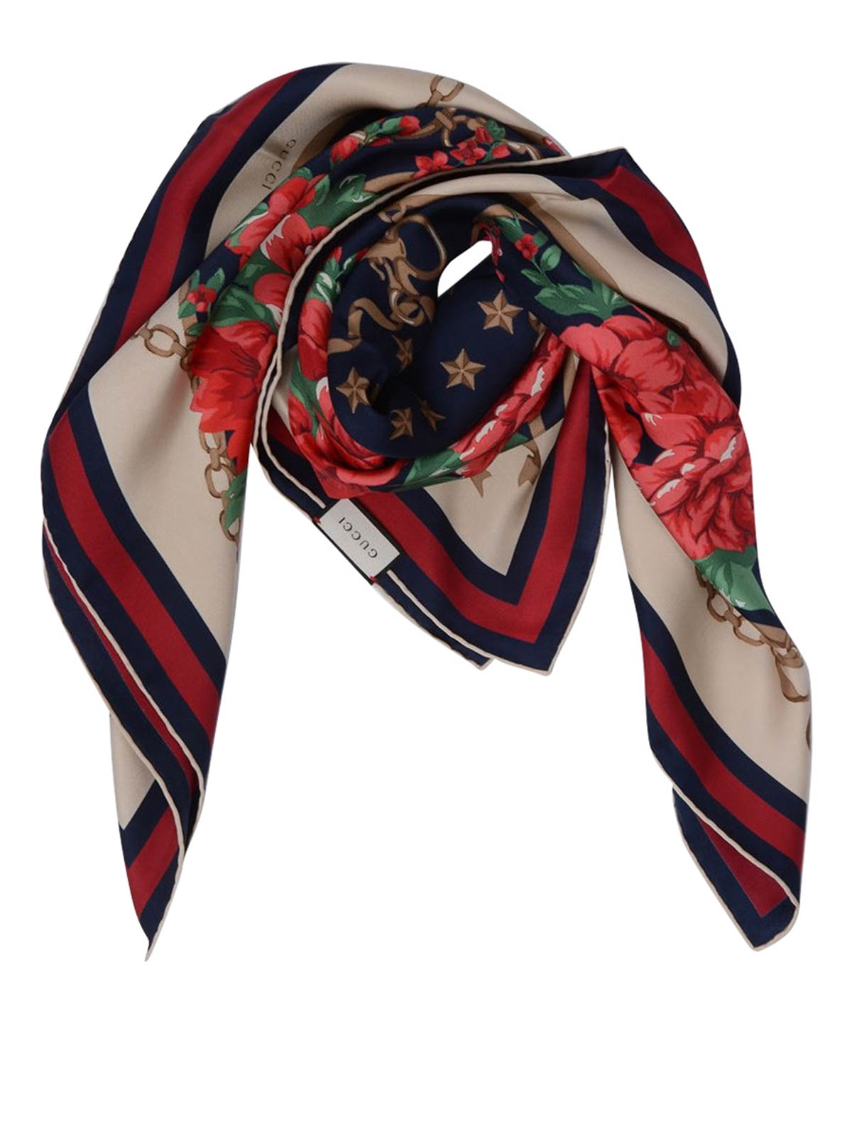 d30a605ffb1f94 Gucci - Rose and chain silk foulard - scarves - 420892 3G001 4074