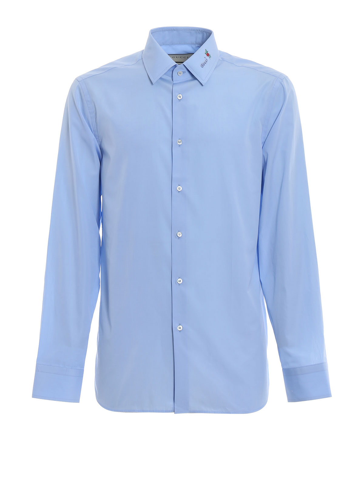 6a3a329e Gucci - Gucci embroidery light blue fil coupé shirt - shirts ...