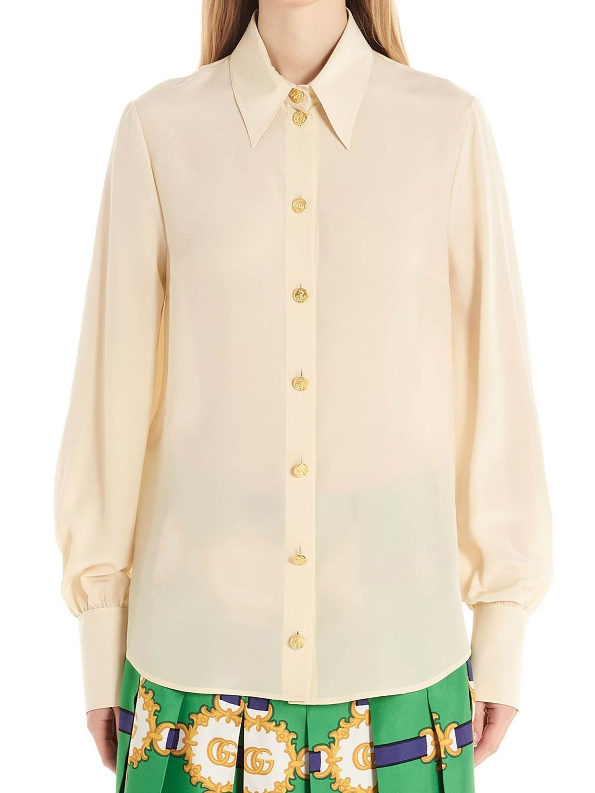 GUCCI LOGO BUTTONS PUFF SLEEVE SHIRT IN BEIGE