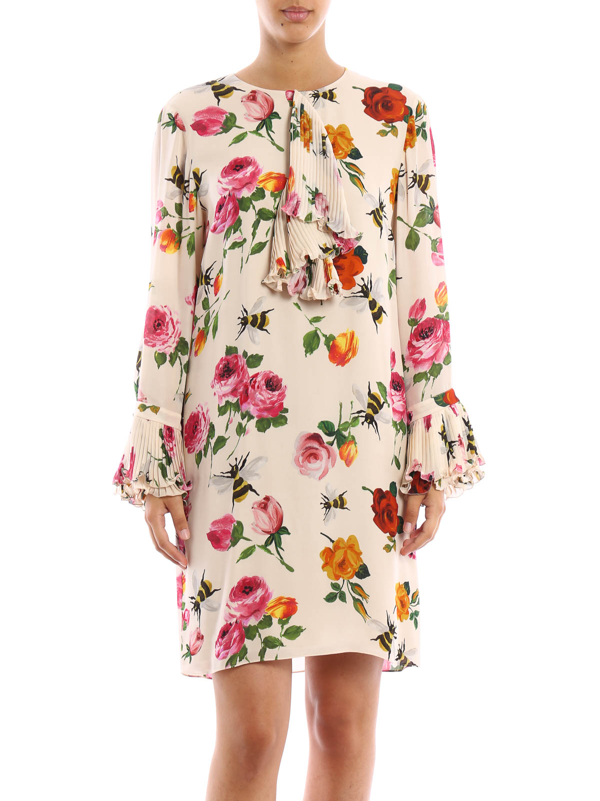 rose printed silk dress by gucci short dresses shop