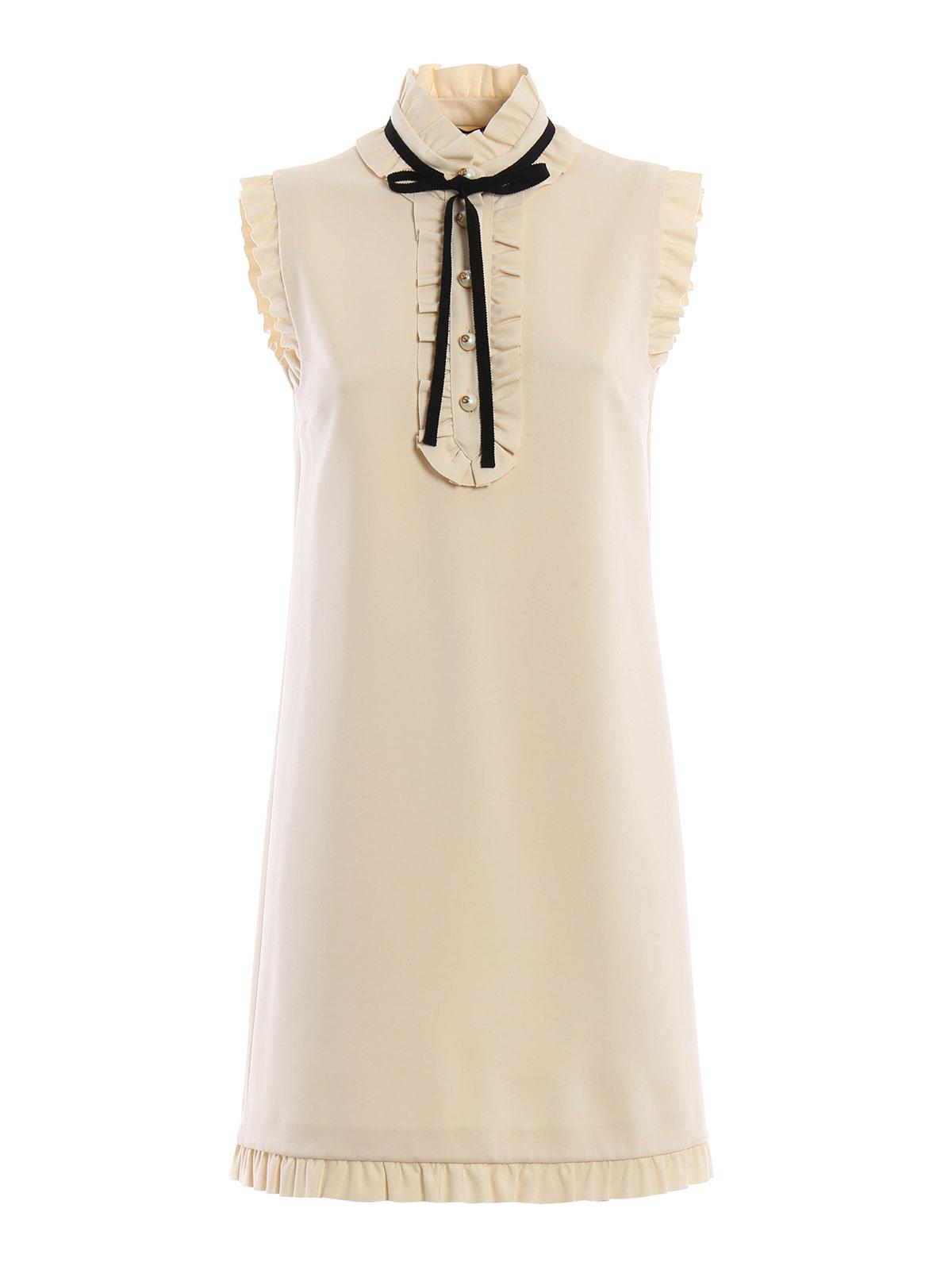 ruffled detailed sleeveless dress by gucci short dresses