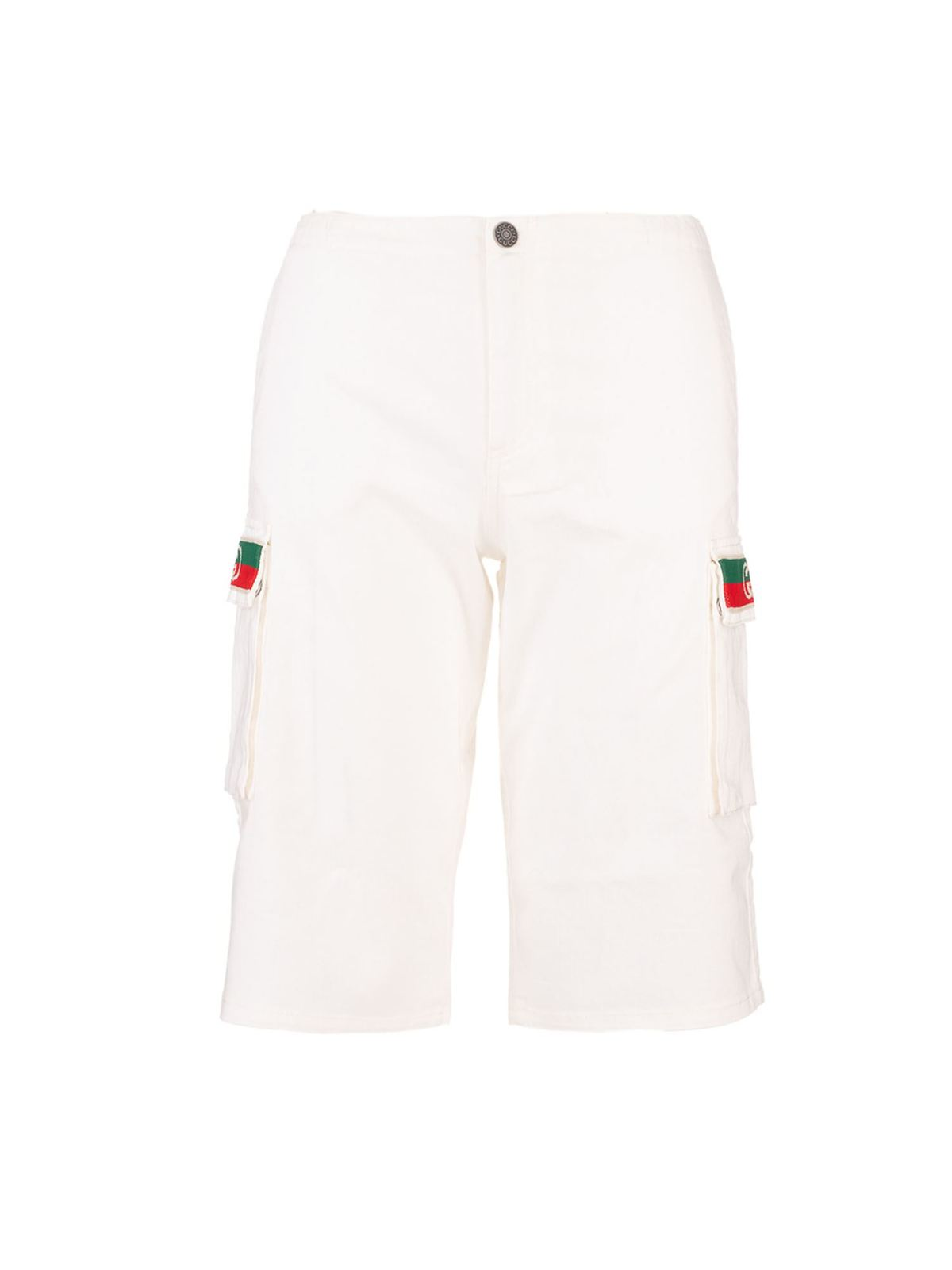 Gucci WEB POCKETS SHORTS IN WHITE