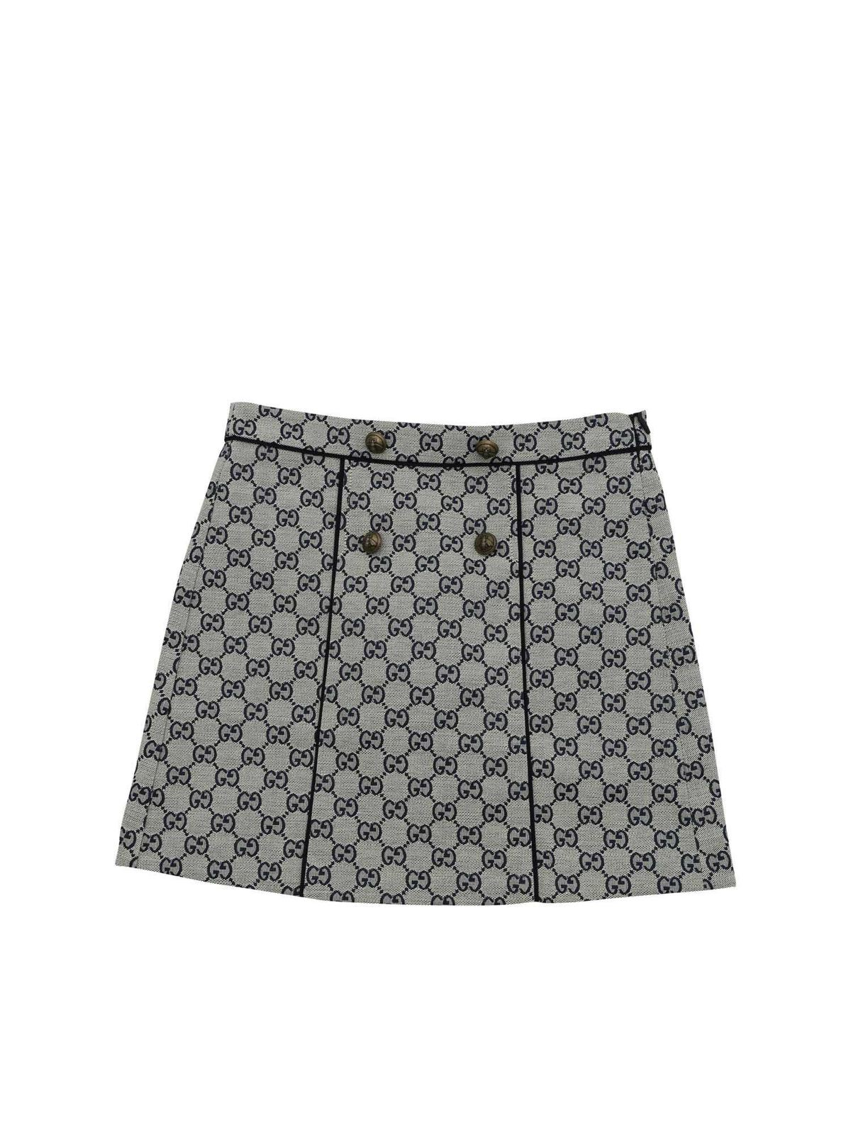GUCCI GG FABRIC SKIRT IN IVORY AND BLUE COLOR