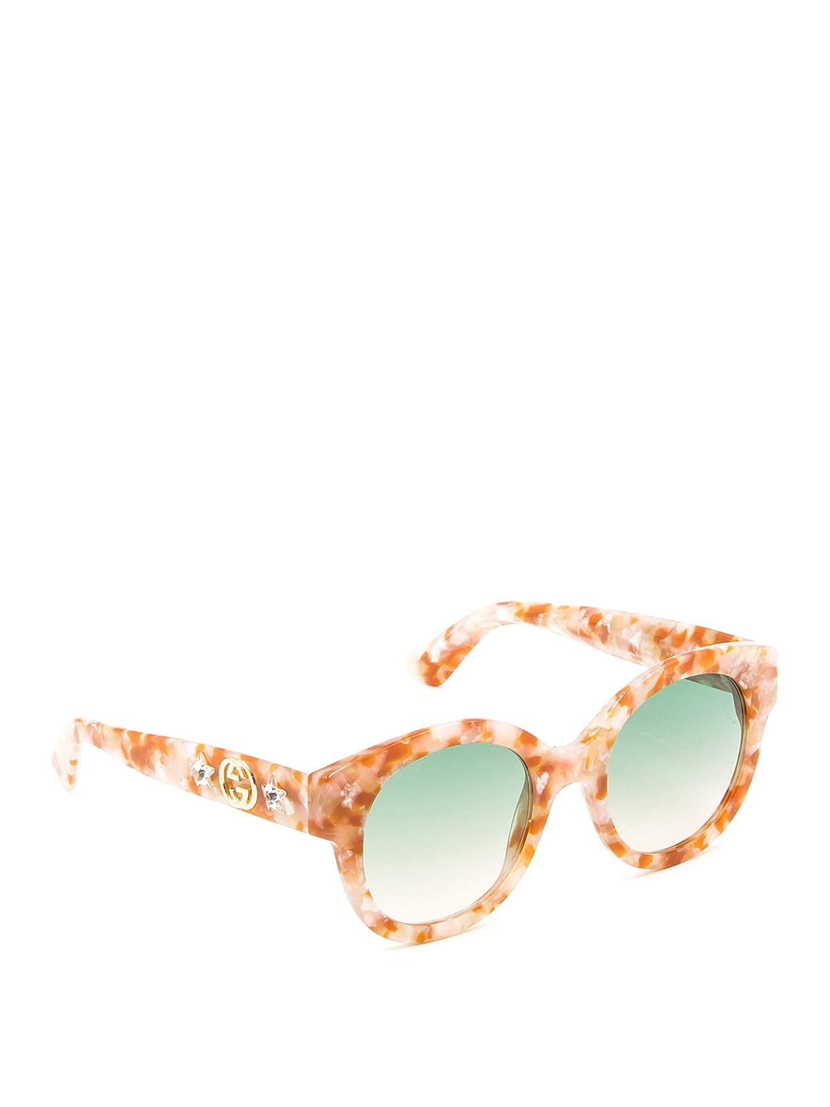 Gucci Acetate Star Gg Round Sunglasses In Orange