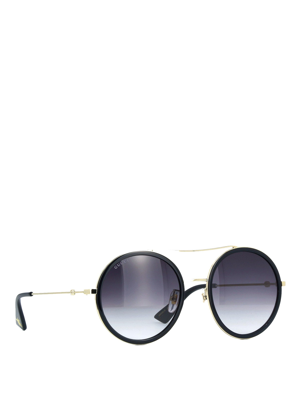 Gucci , Bee detailed black and gold round sunglasses
